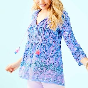 Lilly Pulitzer Marilina Tunic Purple Iris Top